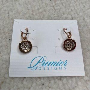 Premier Design Gold Tone Crystal Earrings NEW